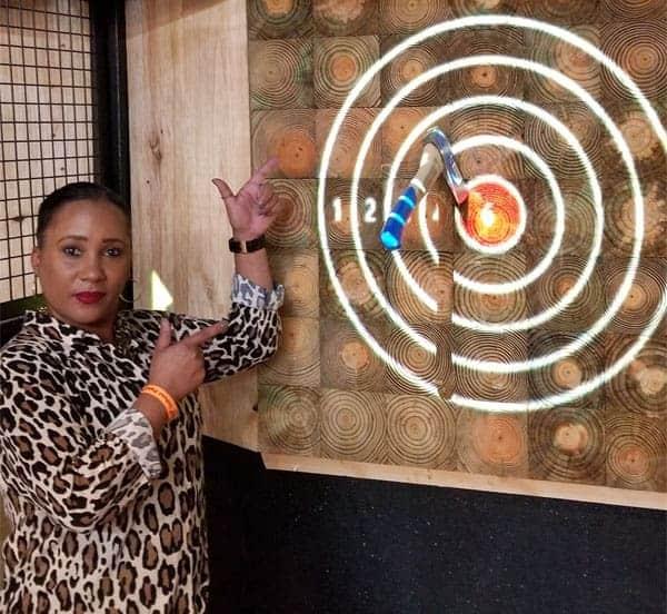 woman hit bullseye on projected target in Omaha